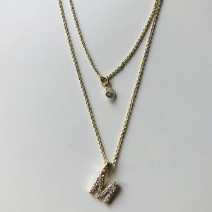 NIP Ann Taylor Layered Pave Initial M 2 Necklaces
